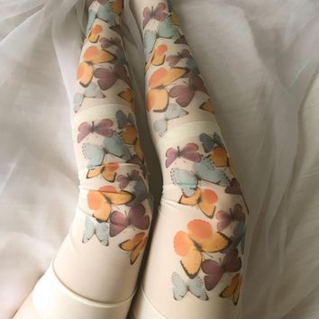 Butterfly Beauty Printed Thigh-high Nylon Stockings