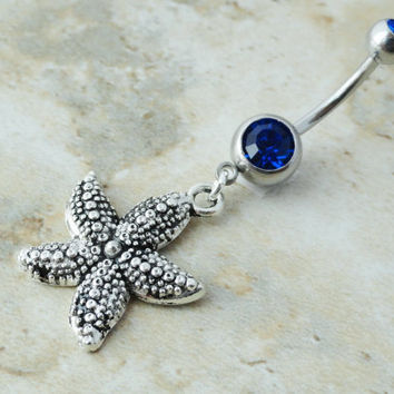 Cobalt Blue Crystal Starfish Belly Button Ring Jewelry
