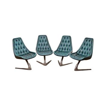 Pre-owned Vladimir Kagan Unicorn Chairs for Chromcraft - S/4