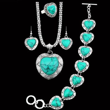 Natural Turquoise heart shaped stone antique silver plated Jewelry set
