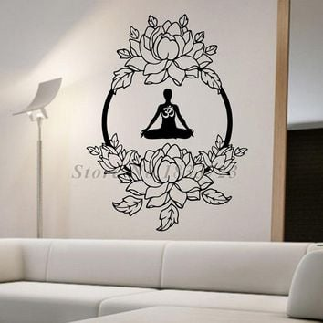 Beautiful Creative Flowers Wall Stickers Home Decor Vinyl Art Adhesive Om Sign Meditation Yoga Wall Decals