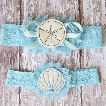Something Blue Beach Wedding Garter Set | Sand Dollar and Shell Wedding Garters | Bridal Garter and Toss Garter