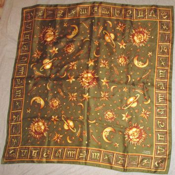 Vintage GIANNI VERSACE Silk Scarf ASTROLOGICAL SIGNS MOON SUN STARS PLANETS