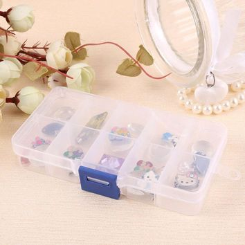 Elegant Tray 10 Slot Case Jewelry Rings Display Box Jewelry Storage 10 compartment plastic necklace containing box #45