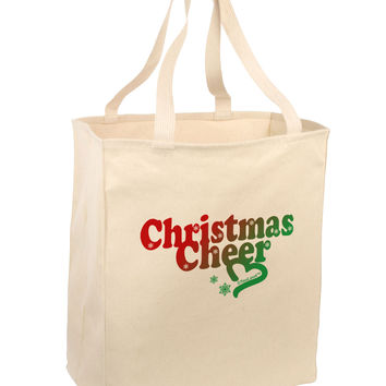 Christmas Cheer Color Large Grocery Tote Bag