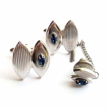 Vintage Swank Cuff Link Tie Tack Set Silver Tone Blue Rhinestone Faux Sapphire Something Blue Something Old Wedding Groom Father Gift