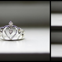 Silver Tiara Heart Crown Ring, Tiara Ring, Princess Ring, Tiara Bridal Ring, Tiara Wedding Ring, Bridesmaid Ring, Silver Ring