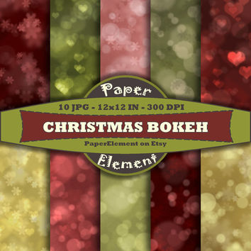 Bokeh Digital Paper in Red Green and Gold - Christmas Digital Paper for Holiday Scrapbook Backgrounds - Instant Download