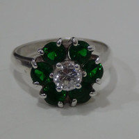 Sterling Silver 925 Flower Ring with Green and White Cubic Zirconia Stones