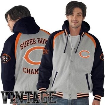 Mens Chicago Bears Ash/Navy Blue Rookie of the Year Super Bowl Champions Commemorative Jacket