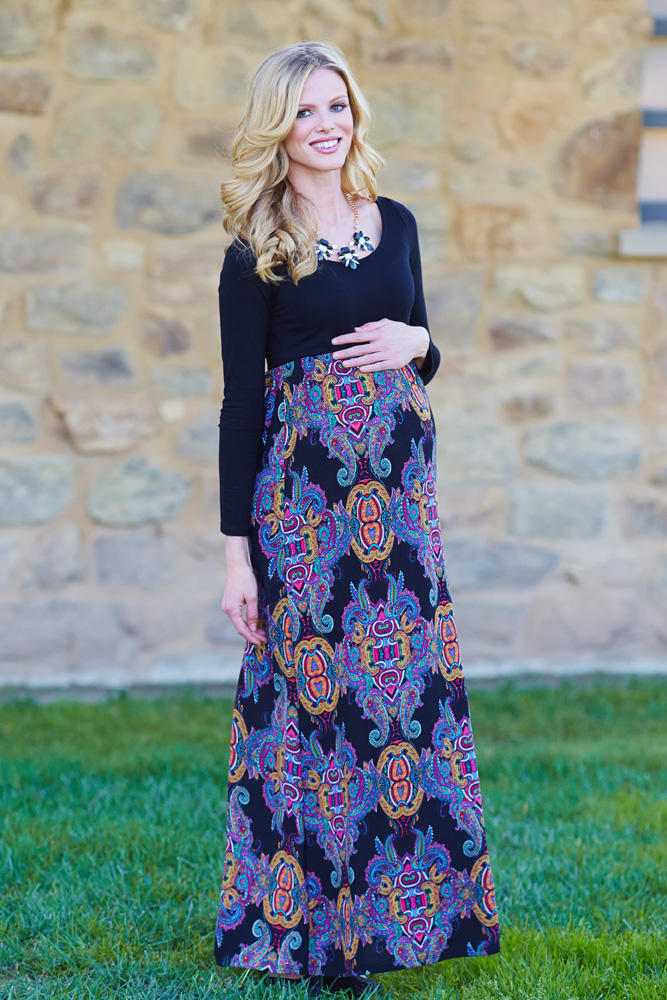 Black Multi Colored Printed Bottom Long S From Pinkblush Maxis