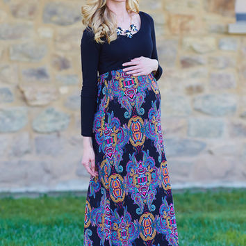 Black-Multi-Colored-Printed-Bottom-Long-Sleeve-Maternity-Maxi-Dress