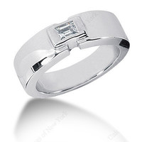 0.30ct Emerald Diamond Men's Wedding Ring 14kt White Gold Gift JEWELFORME BLUE