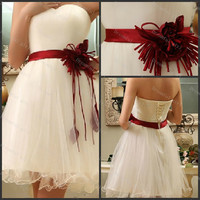 Short homecoming dress sweetheart cocktail dress ruffle organza with sashes flowers