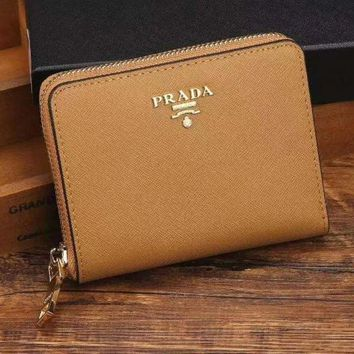 PEAPJ3V Prada Women Fashion Leather Zipper Wallet Purse