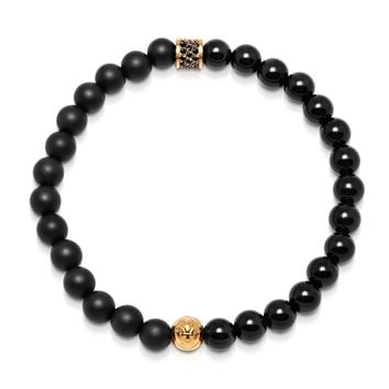Men's Wristband with Matte Onyx, Agate, and Gold