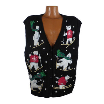 Ugly Christmas Sweater Vintage Party Cardigan Vest  Tacky Holiday polar Bears 22/24