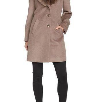 Lauren Ralph Lauren Faux Fur Collar Wool Blend Reefer Coat | Nordstrom