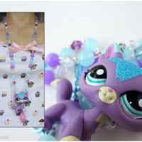 Purple Kitty Rosary Necklace, Beaded Pastel Blue and Purple Chain, Silver Plated - Littlest Pet Shop, LPS