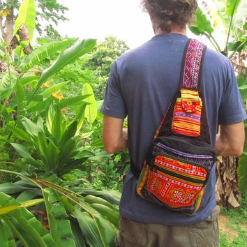 Handmade Patchwork Sling Cross Body Backpack Rucksack / Tribal Ethnic Hippie Boho Unisex Hipster Surfer Traveller Bag / Men's Festival Bag