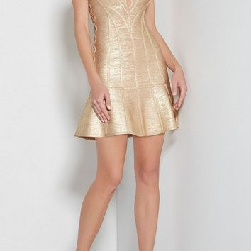 Gold Open Back Foil-Print Bandage Dress