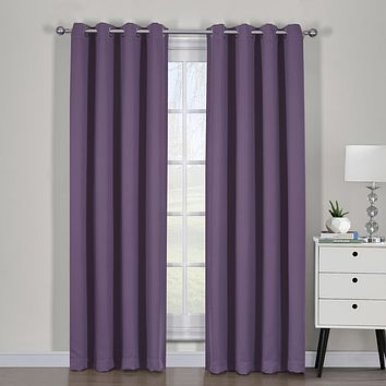 Purple Ava Blackout Weave Curtain Panels With Tie Backs Pair (Two Panels )