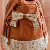 Ribbon Bowknot Leather Backpack with Lace