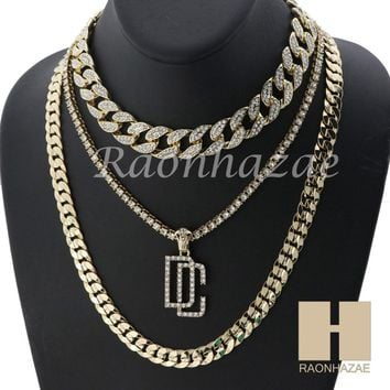 """14K GOLD PT DREAM CHASERS ICED OUT MIAMI CUBAN 16""""~30"""" CHOKER TENNIS CHAIN S029"""
