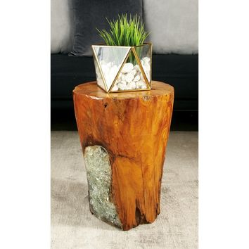 Wood Teak and Resin Garden Stool