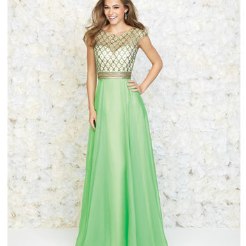 Madison James 15-152 Green Beaded Pattern Chiffon Gown 2015 Prom Dresses