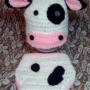 Baby Cow Hat and Diaper Cover Set Newborn Photo Prop Newborn 0-3 Months Country Hat Farm Animal