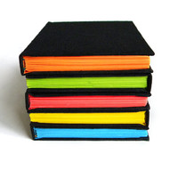 Neon Handmade Journal - Unlined - Choose Your Color Pages - Neon Blue, Green, Yellow, Orange, Pink, Rainbow