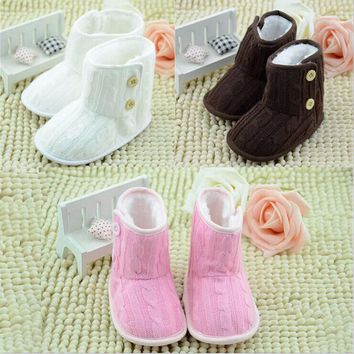Infant Warm Booties Antiskid Shoes Soft Bottom Snow Boots Toddlers 0-18 Months Baby Woolen Yam Fur Knit Shoes Firsst Walkers