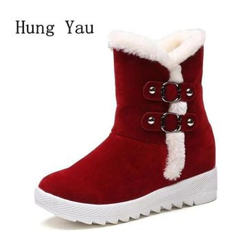 Women Snow Boots Ankle  Winter Warm Female Casual Shoes Platform Woman Fur Round Toe Boots Flat Fashion Comfortable