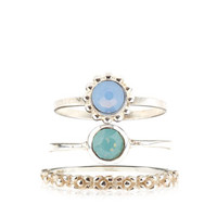 3 x Sterling Silver Opal Flower Stacking Rings | Multi | Accessorize