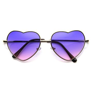 Cute Metal Heart Shape Rainbow Color Lens Sunglasses 9205