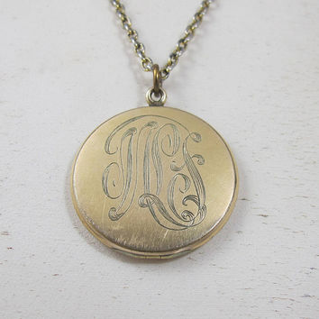 Antique Monogrammed Locket Necklace, Large Round Victorian Two Photo Picture Locket Pendant, Rolled Gold, Initials JLS