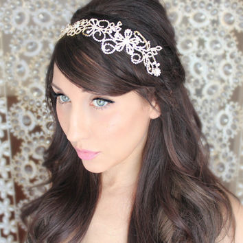 Gold Rhinestone Headpiece, Wedding tiara, bridal accessory,SIlver - Le CIEN - by DeLoop