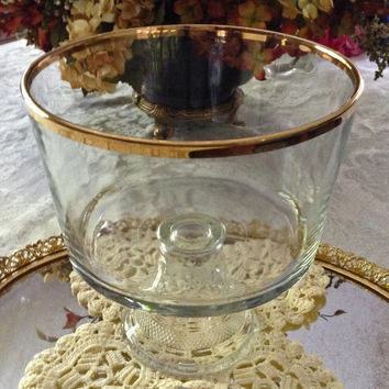 24K Trim Anchor Hocking Wexford Trifle Bowl with Box