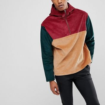 ASOS Cord Overhead Windbreaker With Colourblock Pink at asos.com