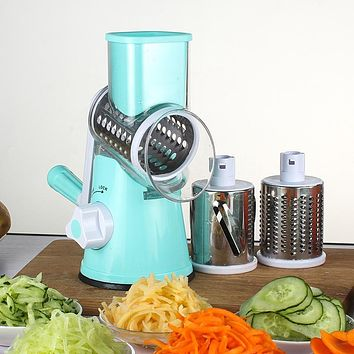 Round Mandoline Slicer Vegetable Cutter Manual Potato Julienne Carrot Slicer Cheese Grater Stainless Steel Blades Kitchen Tool