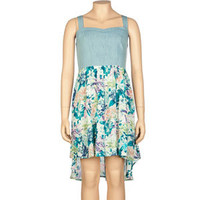 FULL TILT Chambray Print Hi Low Dress