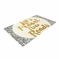 "Pom Graphic Design ""Let's Travel New Roads"" Gold Black Woven Area Rug"