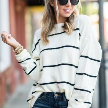 Let's Get Toasty Sweater, Ivory-Black