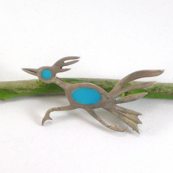 Vintage Unmarked Sterling Silver Turquoise Blue Glass Inlay Roadrunner Native Bird Brooch Pin