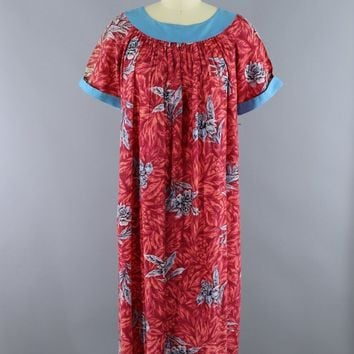Vintage 1960s Hawaiian Caftan Dress / Pink & Blue Floral