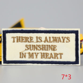 HOT sale 1Pc sunshine Iron On Embroidered Patch For Cloth Cartoon Badge Garment Appliques DIY Accessory