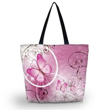Women's Shoulder Bags - Butterfly Soft Foldable Canvas Shoulder Beach Tote Purse Canvas Handbags Totes Bags