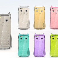 Lovely transparent cat phone case for iphone 5 5s SE 6 6s 6 plus 6s plus + Nice gift box 072301
