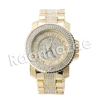 HIP HOP ICED OUT RAONHAZAE LION FACE LUXURY GOLD FINISHED LAB DIAMOND WATCH X6